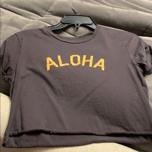 Grey brown aloha billabong cropped tee shirt top